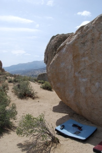 Setting up for my first route in the Buttermilks bouldering field.